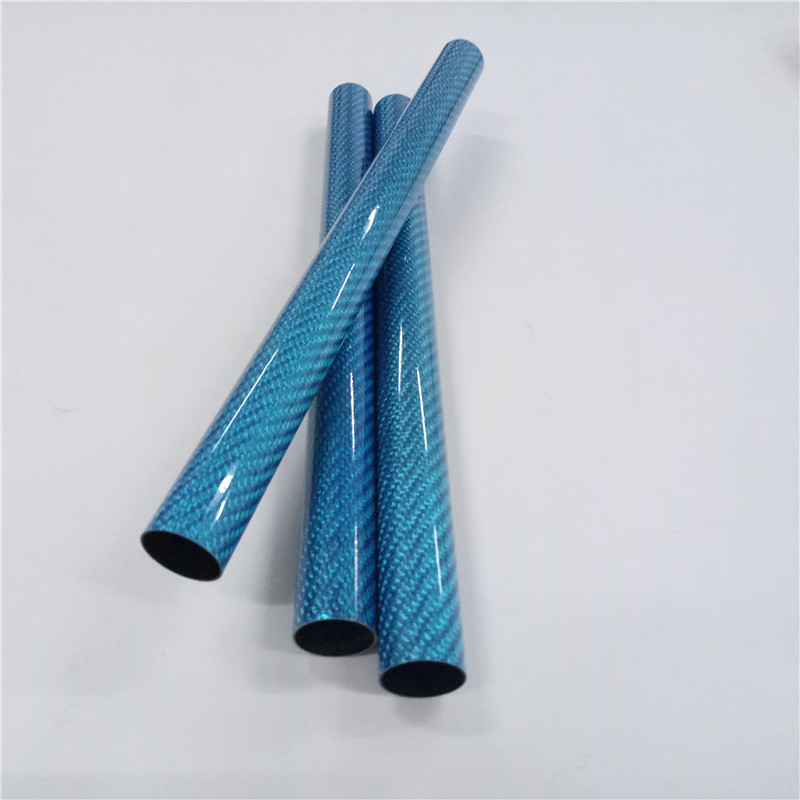 Blue Color Fiberglass Tube with 3K Weave Glossy Finish